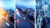 Κεραυνός χτύπησε αυτοκίνητο στη μέση του δρόμου (Video)