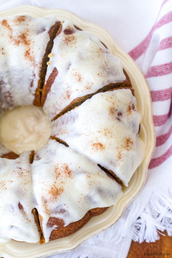 Cream Cheese Glazed Pumpkin Bundt Cake