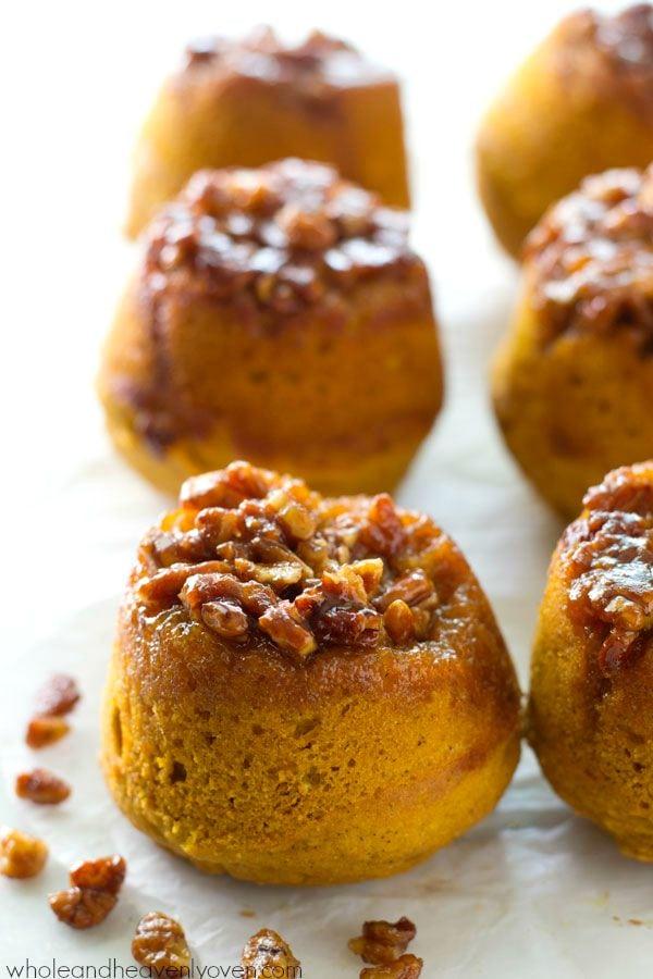 Sticky Pecan Upside-Down Pumpkin Muffins
