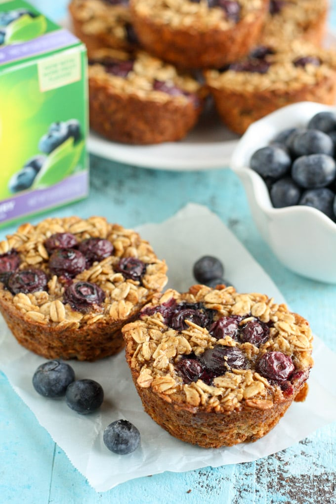 These Baked Blueberry Oatmeal Cups are easy to make and perfect to enjoy for breakfast throughout the week!