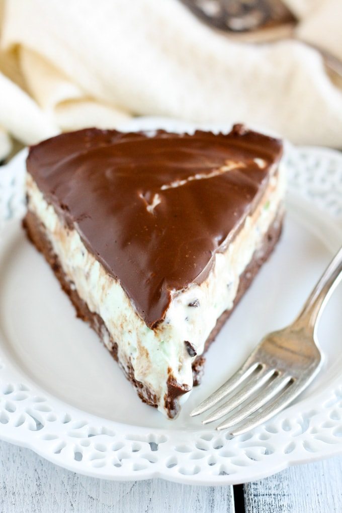 Mint Chocolate Ice Cream Brownie Pie