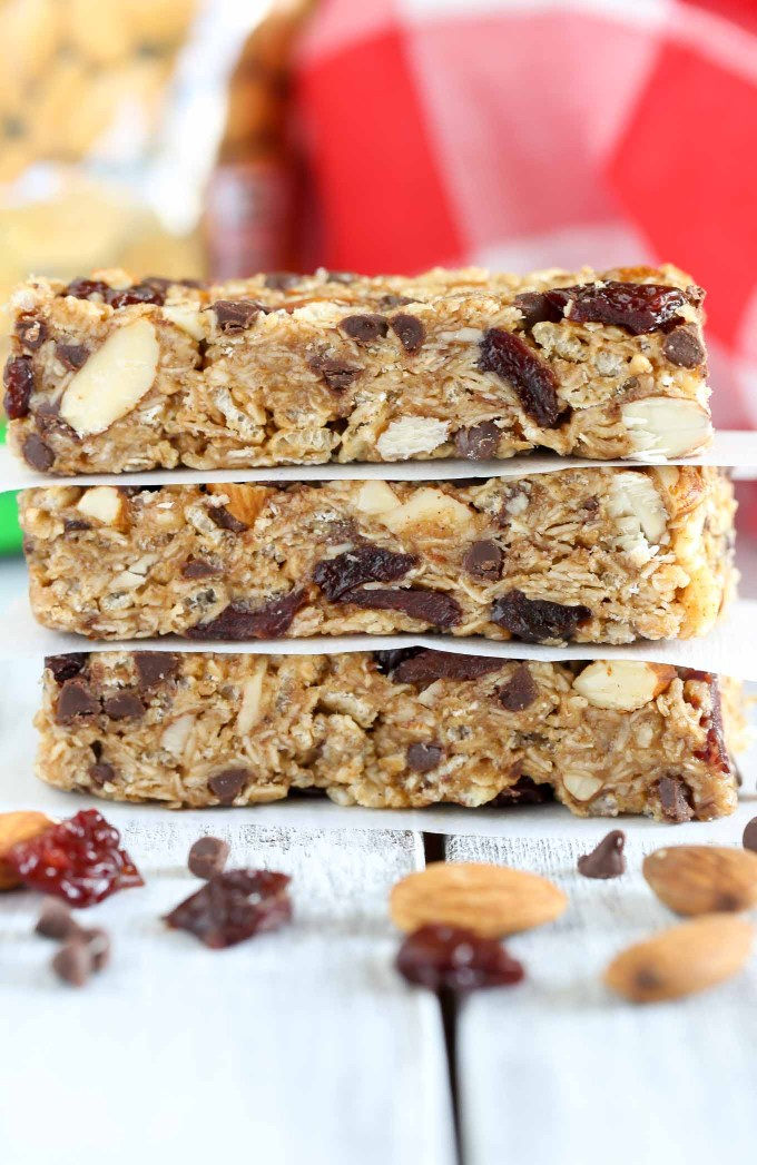 These No-Bake Chocolate Cherry Almond Granola Bars are easy to make and perfect for a healthier snack!
