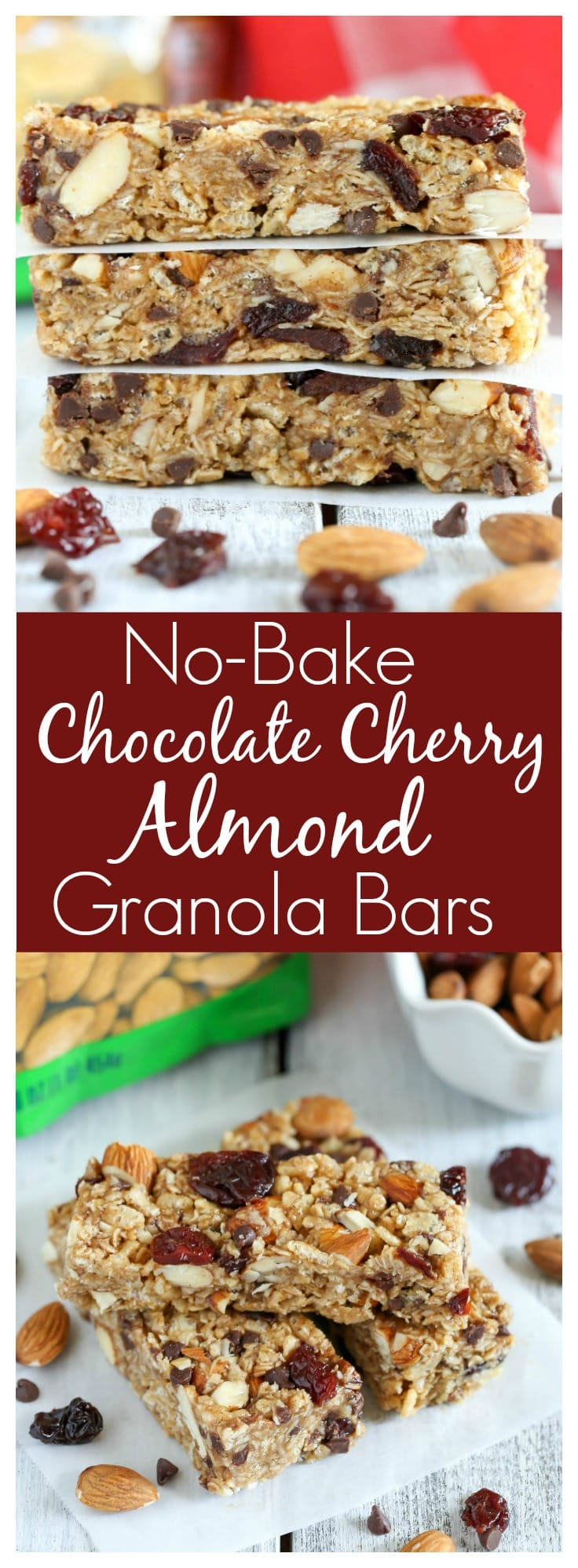 These No-Bake Chocolate Cherry Almond Granola Bars are easy to make and perfectfor a healthier snack!