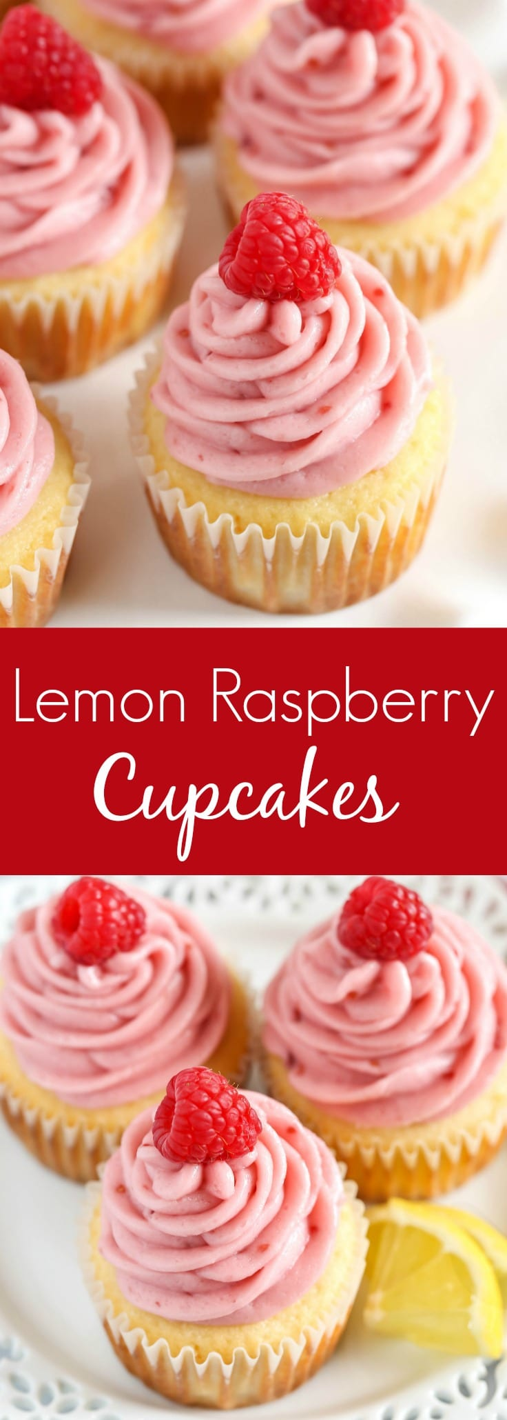Light and moist lemon cupcakes topped with an easy raspberry buttercream frosting. These Lemon Cupcakes with Raspberry Buttercream Frosting are absolutely delicious!