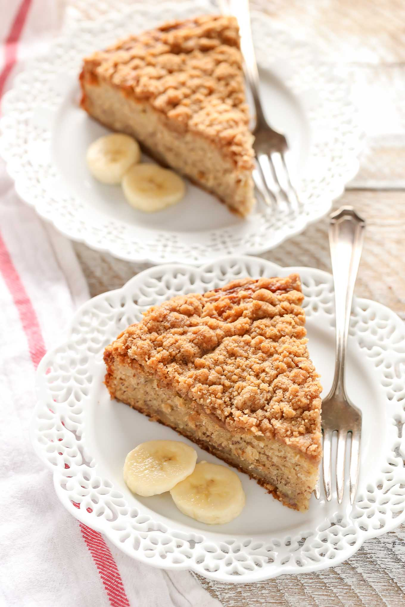 A moist banana cake topped with a brown sugar crumb topping. This Banana Crumb Cake is a perfect way to use those ripe bananas!