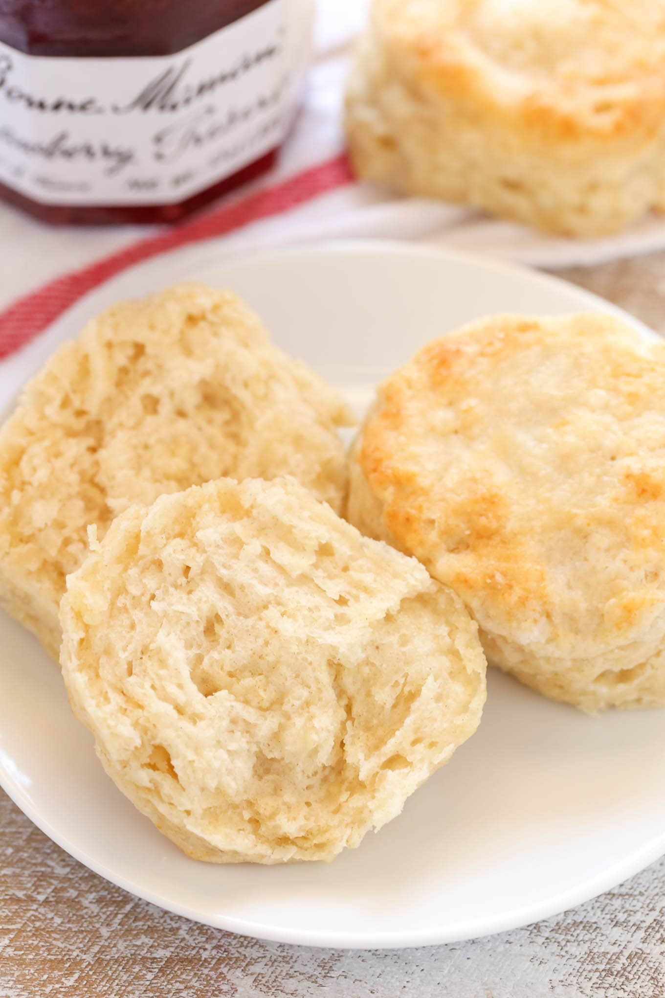 These Easy Buttermilk Biscuits are incredibly soft, tall, flaky, and buttery. Serve these with some jam, gravy, or your topping of choice for an easy and delicious breakfast!