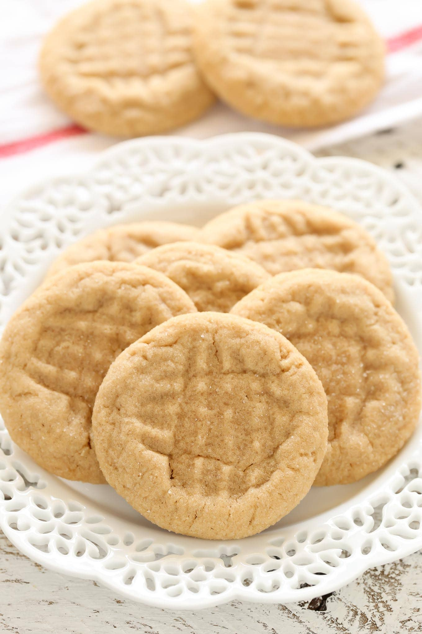 These soft peanut butter cookies are easy to make, full of peanut butter flavor, and don't require any dough chilling!