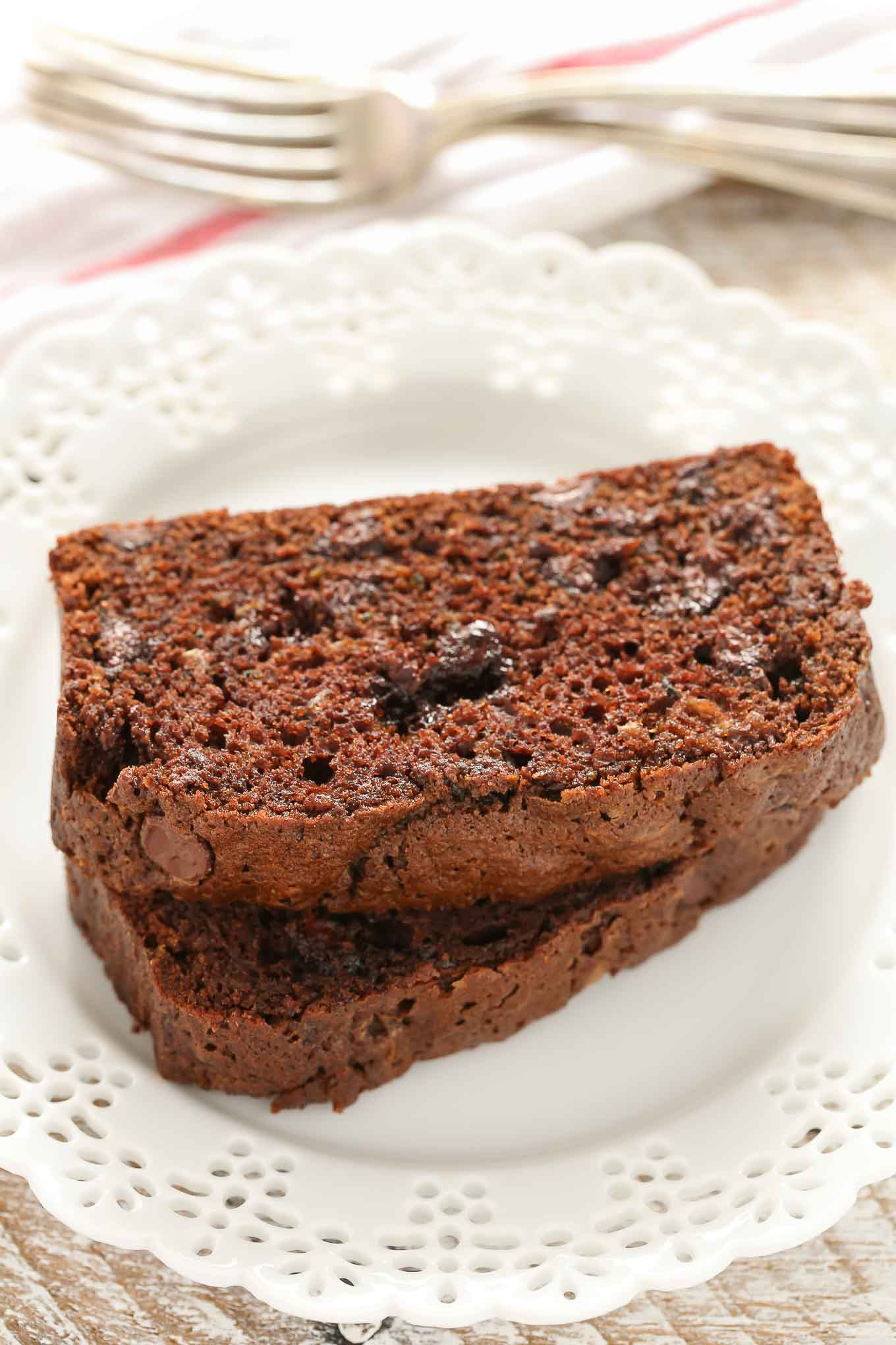 This Double Chocolate Zucchini Bread is incredibly rich, moist, fudgy, and loaded with chocolate chips!