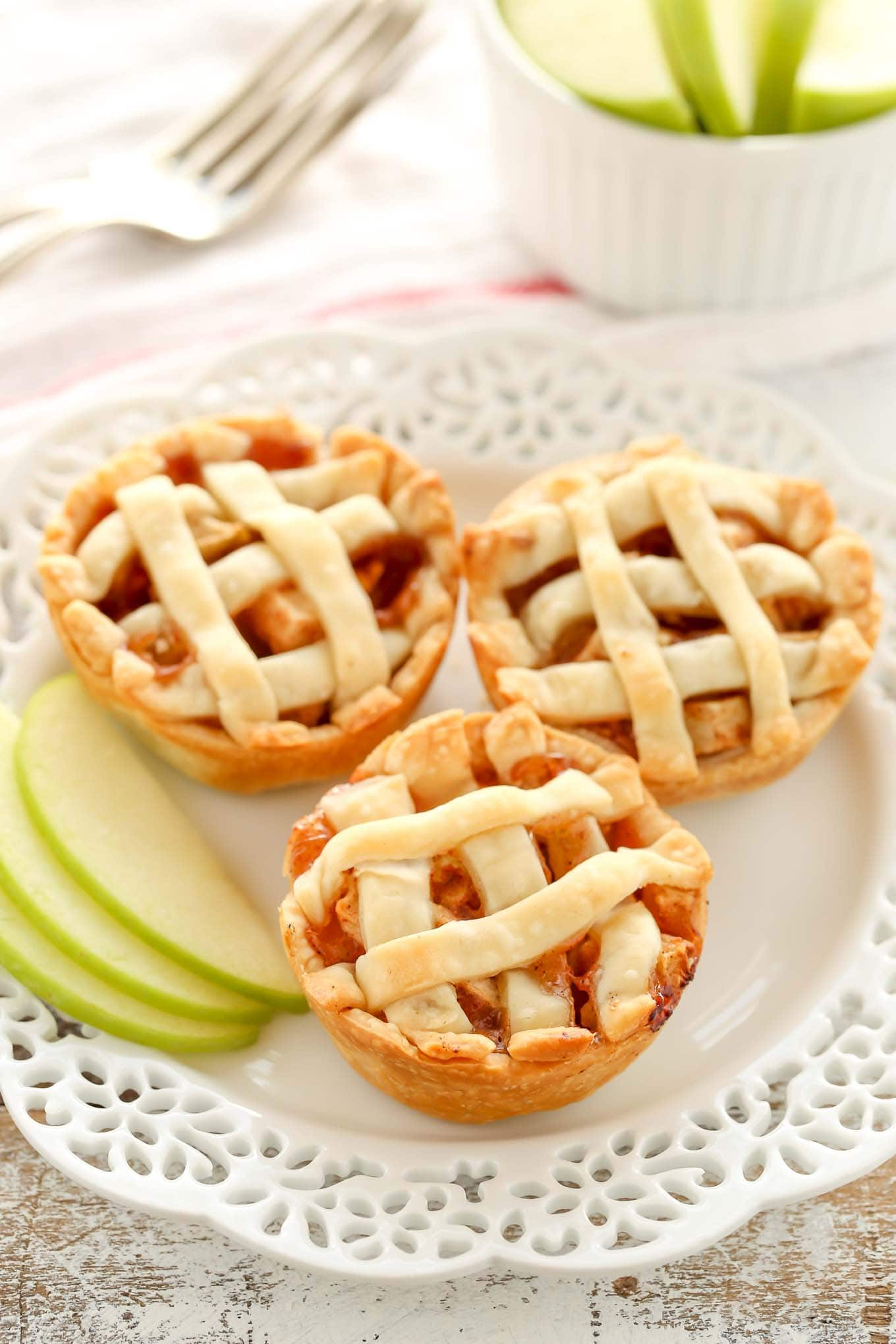 In medium bowl, mix apples, cinnamon and nutmeg; place in pie plate.