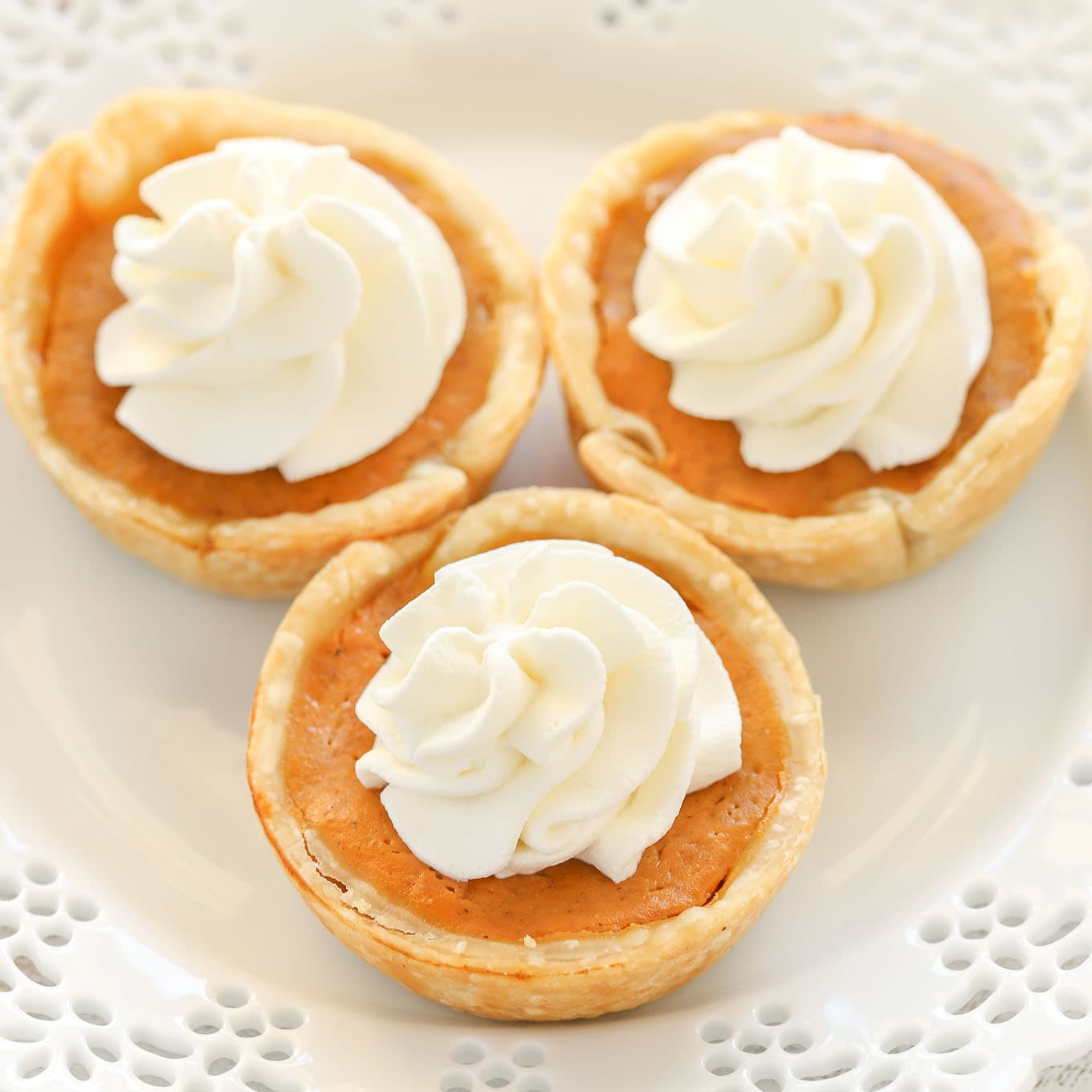 An easy recipe for mini pumpkin pies made in a muffin pan. The perfect dessert for Thanksgiving!