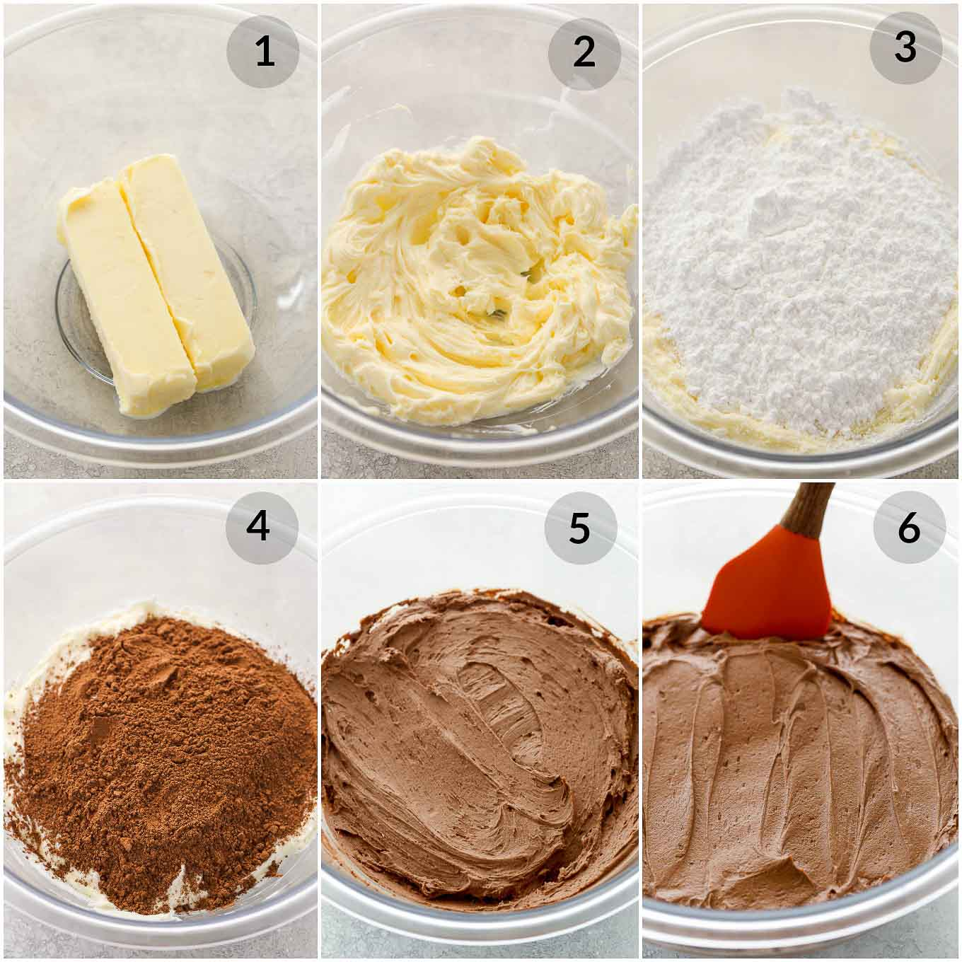 A step by step photo collage showing how to make the best chocolate buttercream frosting.