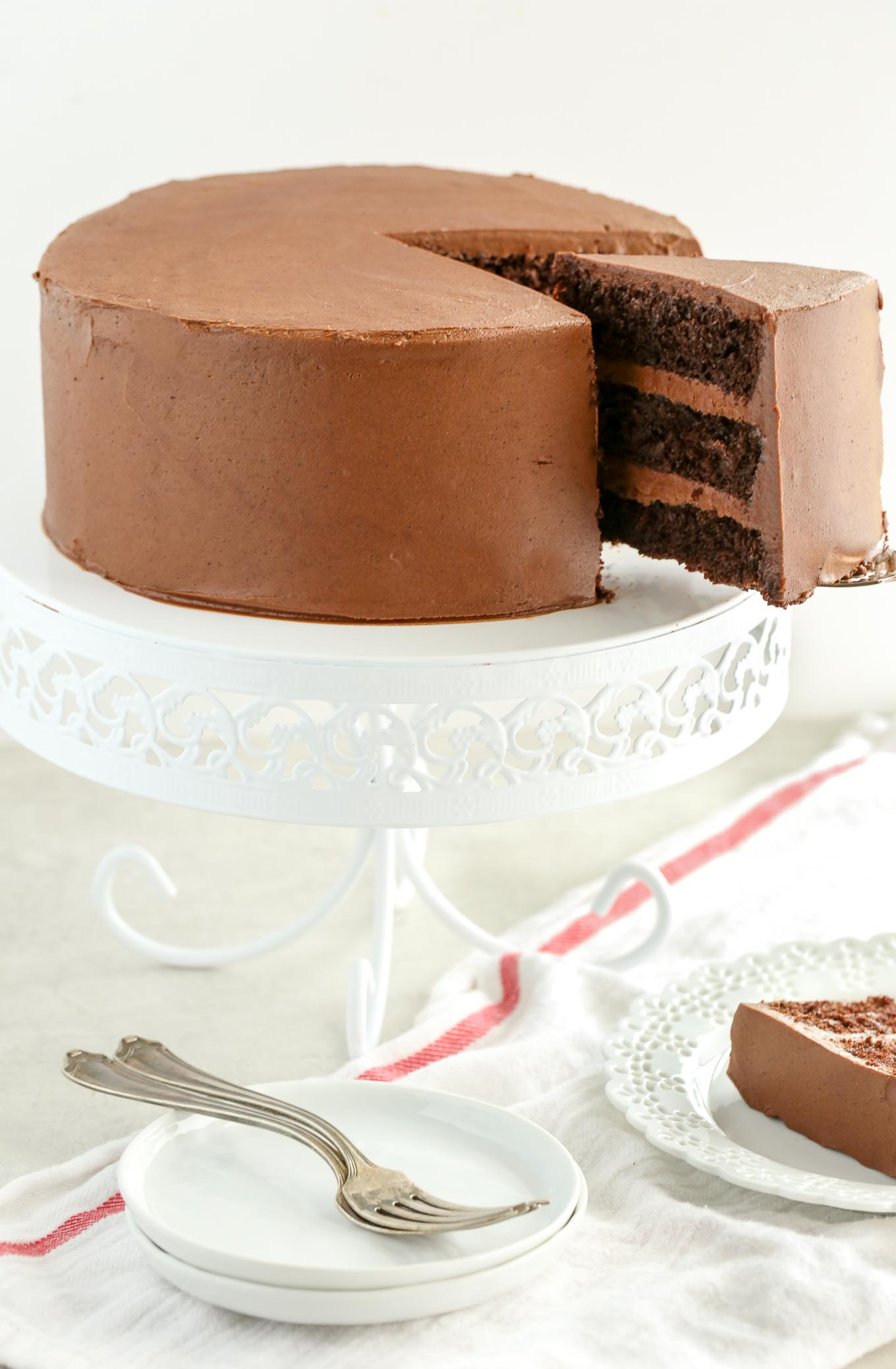 A recipe and tutorial on how to make my favorite chocolate layer cake with a simple homemade chocolate buttercream frosting. This recipe is easy to make and turns out perfect every single time!