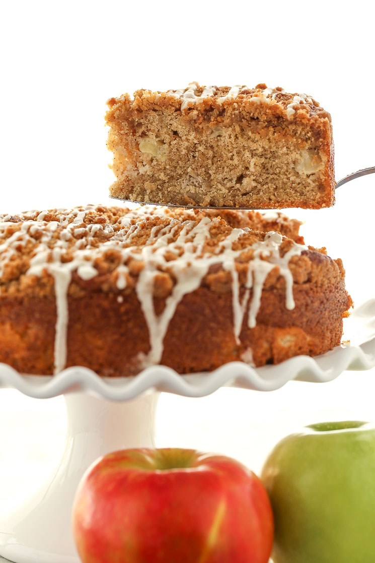 A moist and delicious apple cake topped with a simple brown sugar crumb topping. This Apple Coffee Cake is the perfect breakfast or dessert for fall!