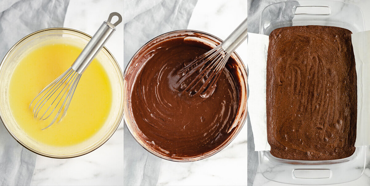 A collage image of the steps taken to make the fudge brownie layer.