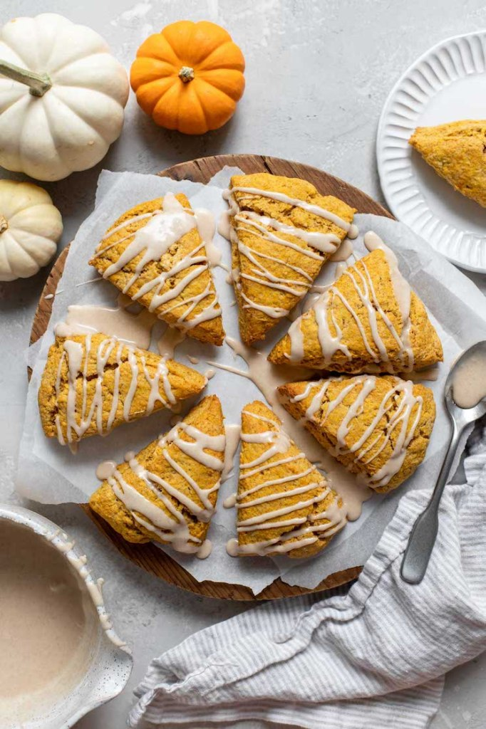 Pumpkin scones arranged in a circle on parchment paper topped with a maple cinnamon glaze.