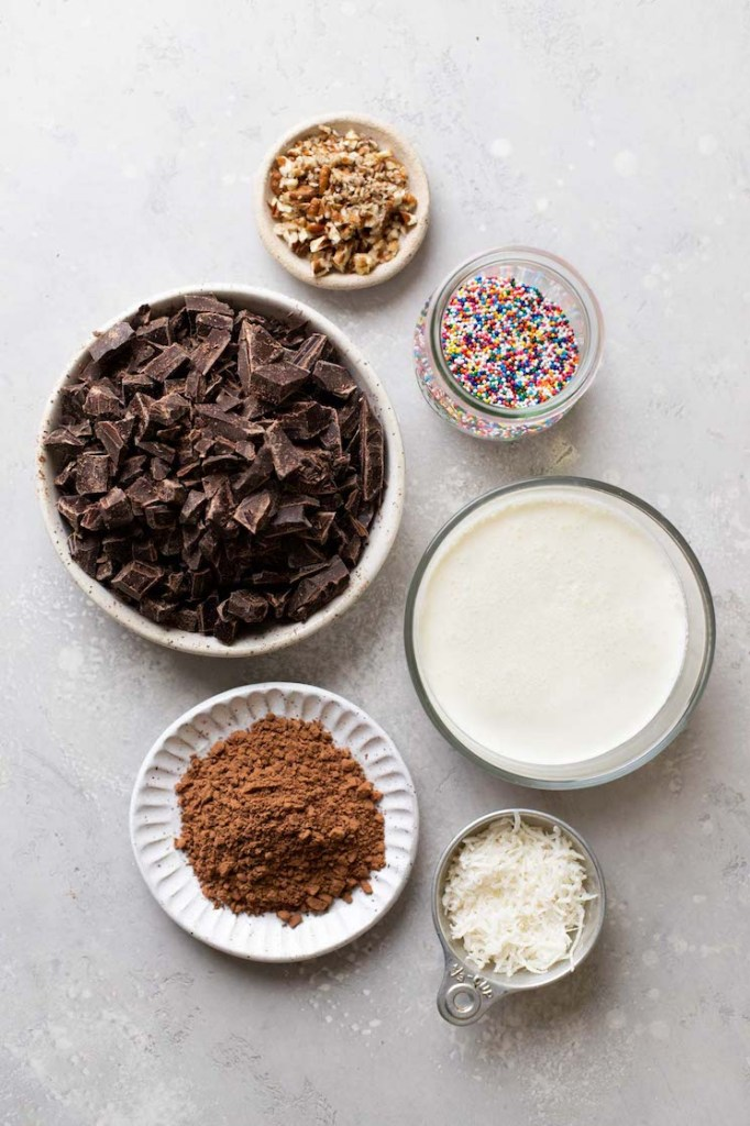 Overhead view of the ingredients needed to make the best chocolate truffles.