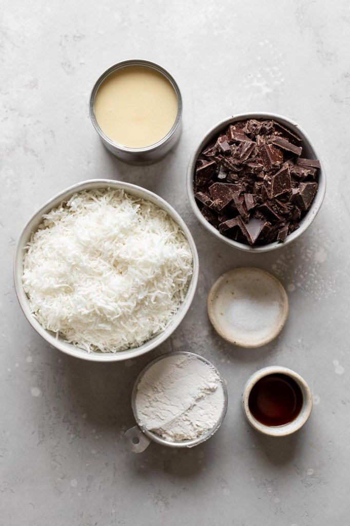 Overhead view of the ingredients needed to make coconut macaroons with sweetened condensed milk.