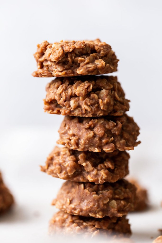 A stack of several no-bake cookies.
