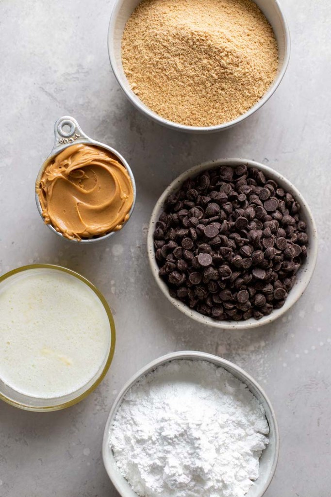 Overhead view of the ingredients needed to make peanut butter chocolate bars.