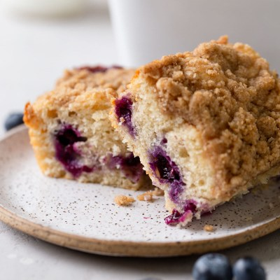 A side view of two slices of blueberry coffee cake on a speckled plate. Fresh blueberries rest in the foreground.