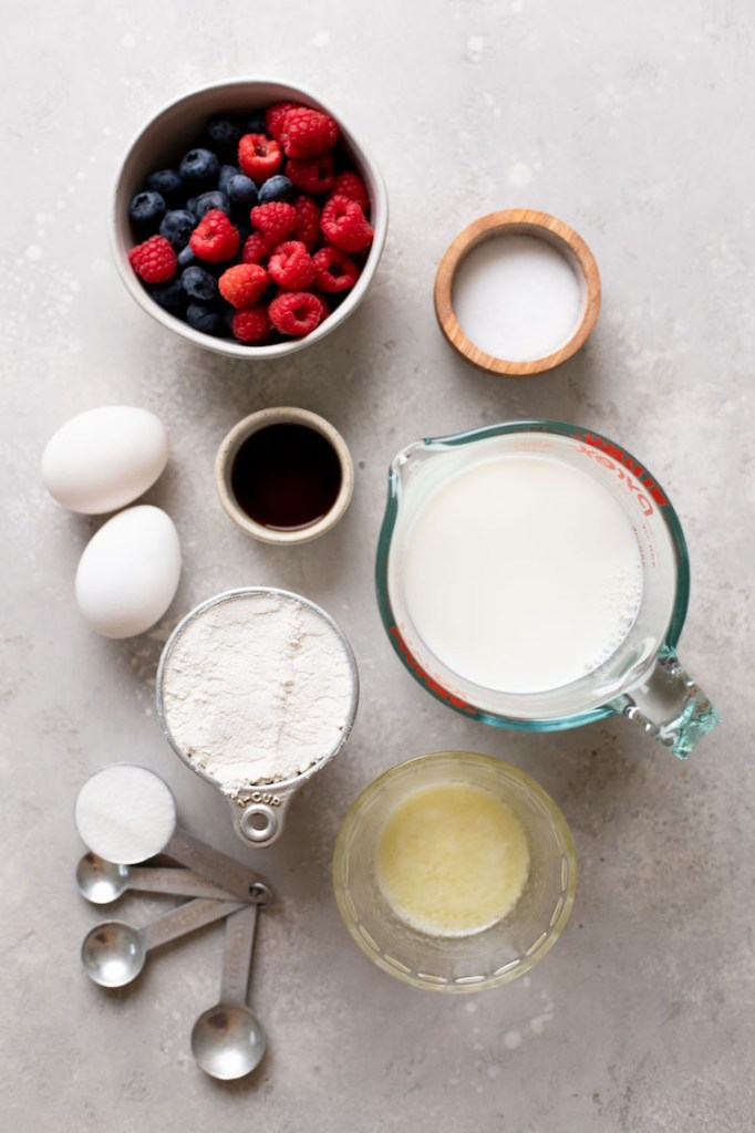 Overhead view of the ingredients needed to make crepes from scratch.