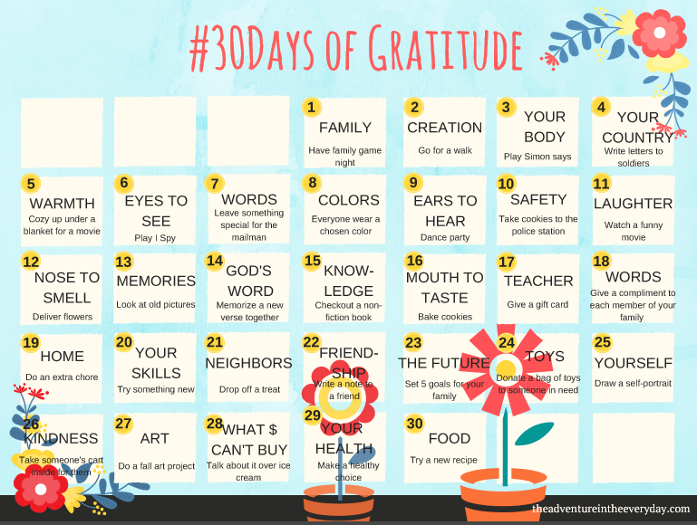 30 Days of Gratitude: Fun activities for the whole family!