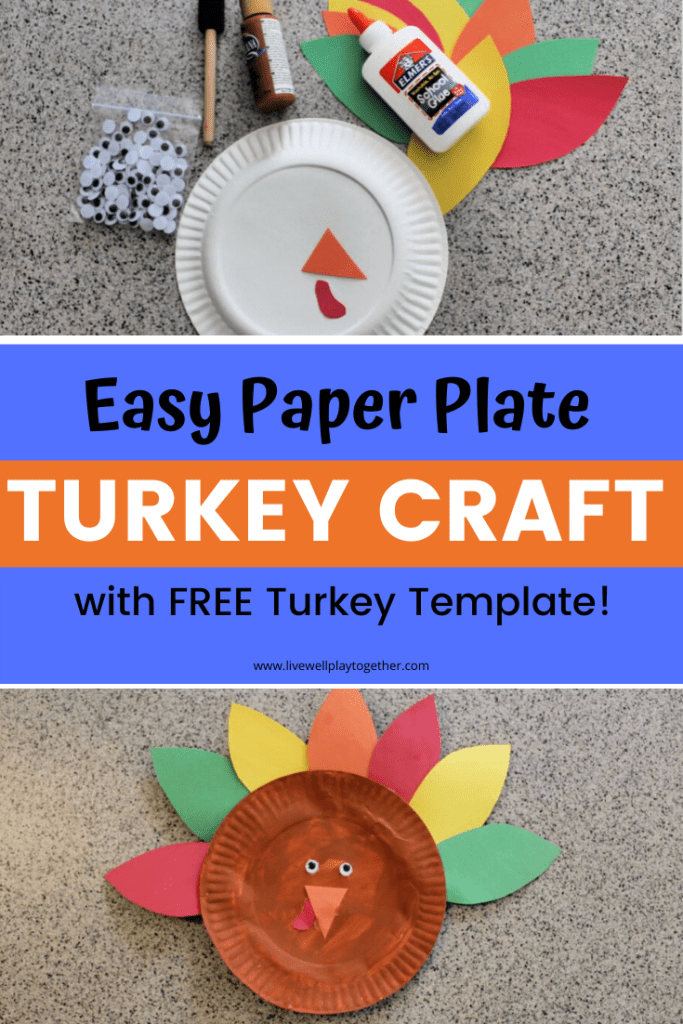 Paper Plate Turkey Craft For Kids Free Turkey Template