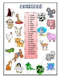 animals: The animals online worksheet