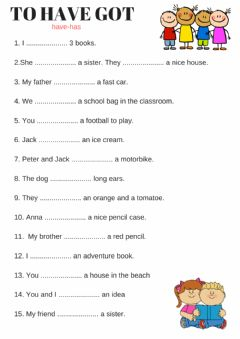 English Exercises Verb Have Has