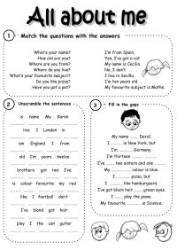 All about me - Interactive worksheet