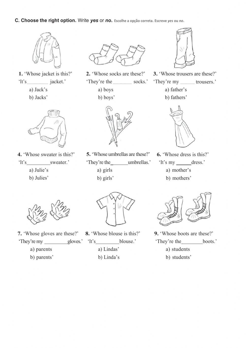Possessive case Interactive worksheet