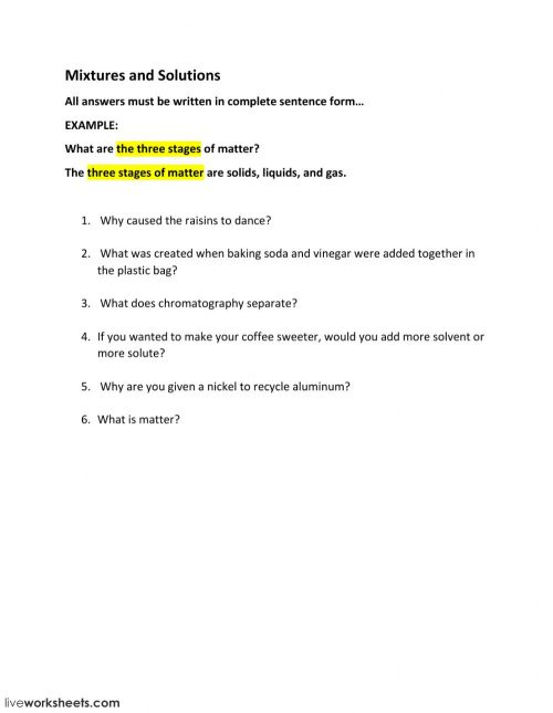 small resolution of MIXTURES AND SOLUTIONS WORKSHEETS 5TH GRADE ANSWERS ANSWER - Bestseller: 5th  Grade Worksheet Mixtures And Solutions ...