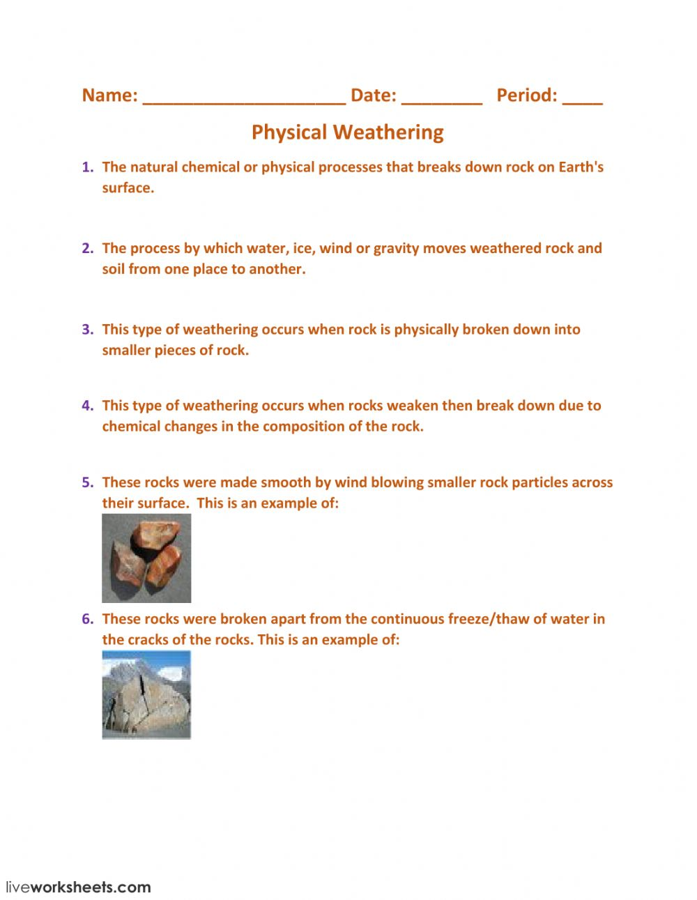 medium resolution of Physical And Chemical Weathering Worksheet - Promotiontablecovers