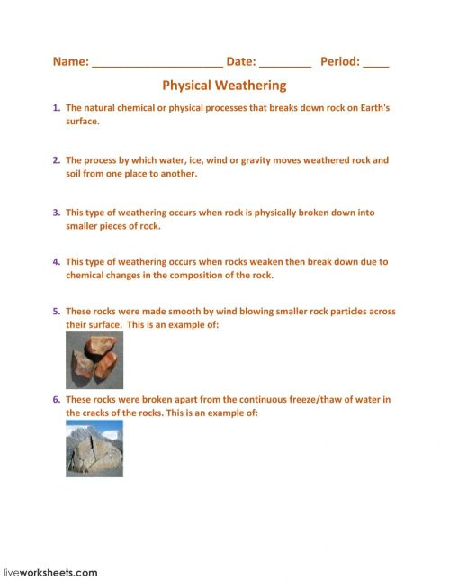 small resolution of Physical And Chemical Weathering Worksheet - Promotiontablecovers