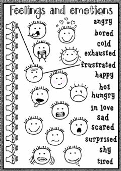 Feelings and emotions Interactive worksheets
