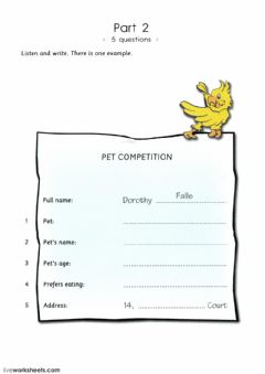Pets Interactive worksheets