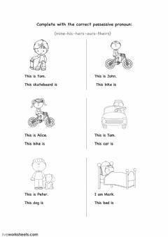 Possessive pronouns Interactive worksheets