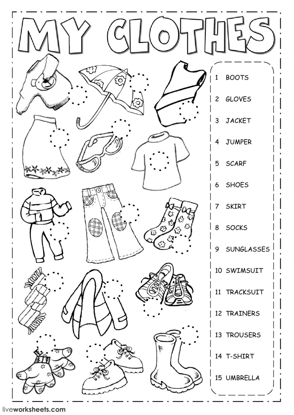 The clothes: Clothes worksheet