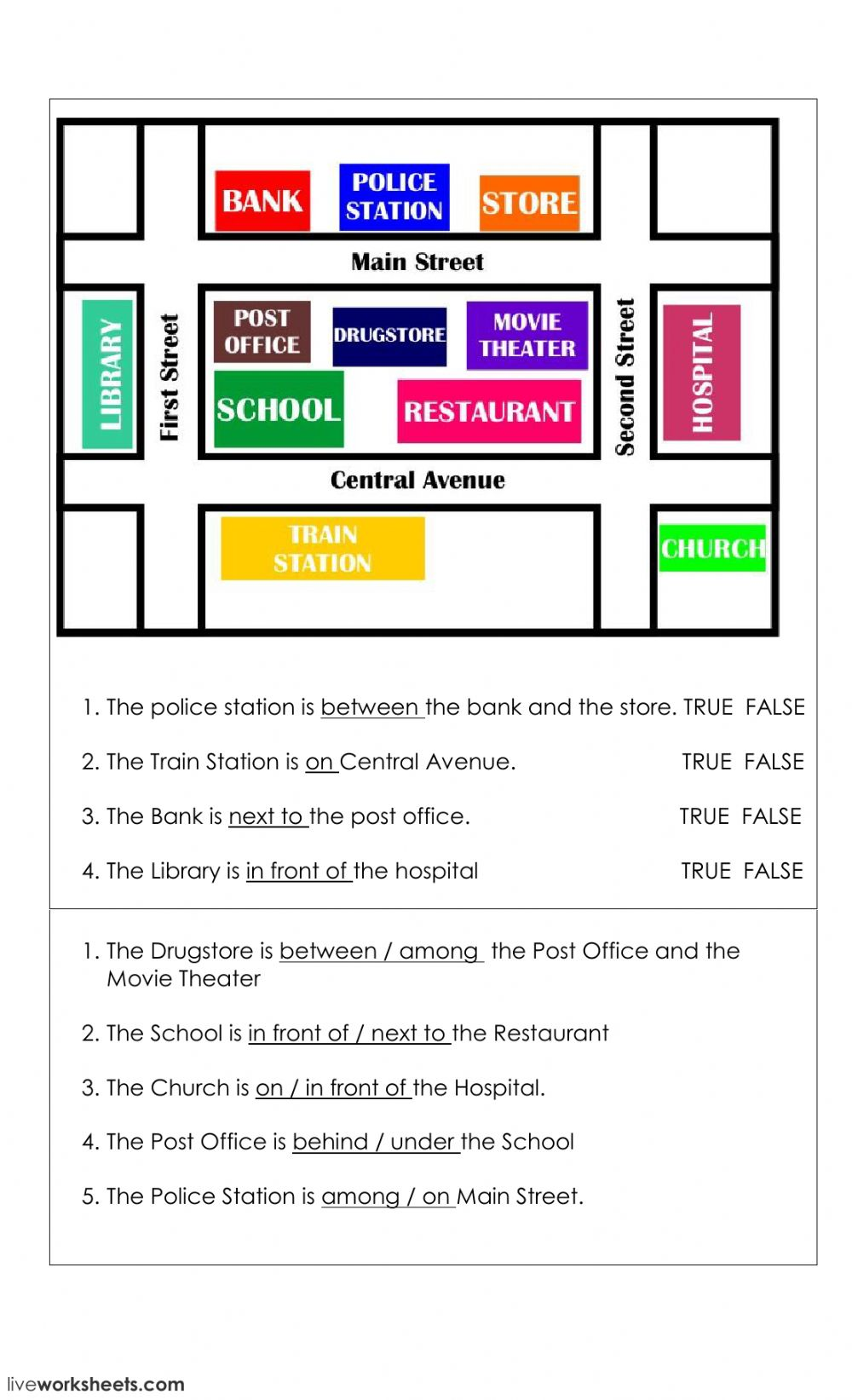 Preposition of place on a map - Interactive worksheet