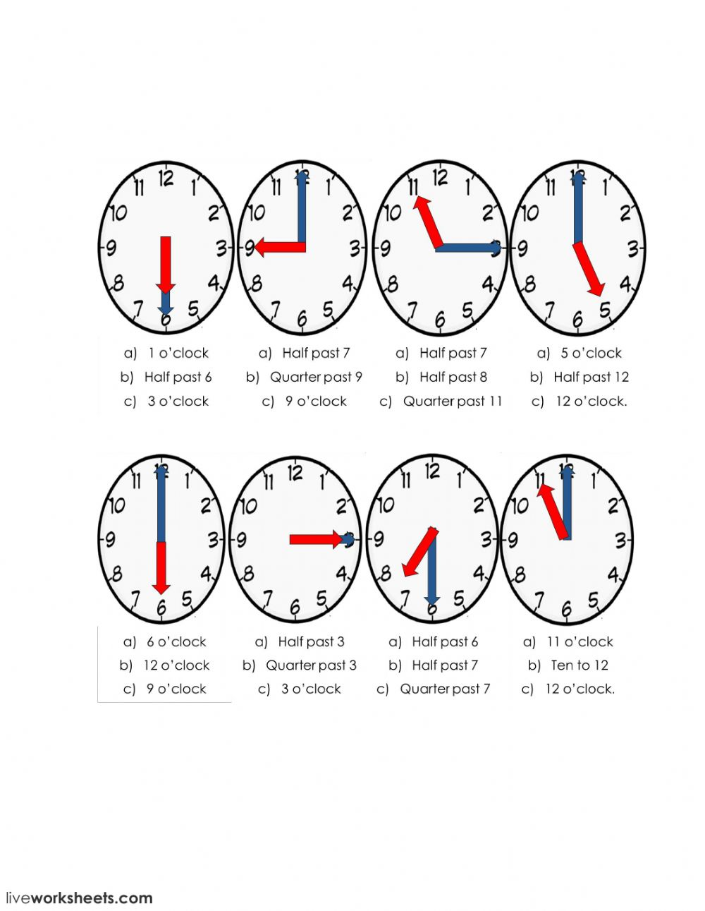 Say time: Telling the time worksheet