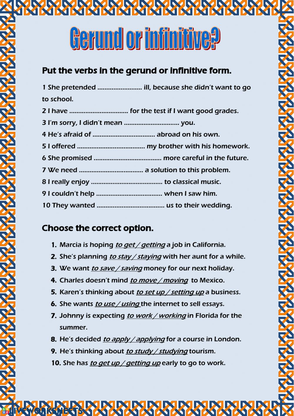 hight resolution of Infinitives Exercises With Answers For Grade 8 - Exercise Poster