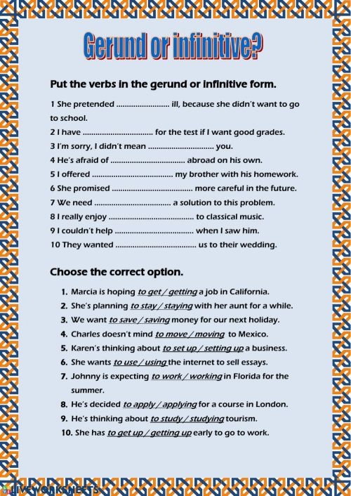 small resolution of Infinitives Exercises With Answers For Grade 8 - Exercise Poster