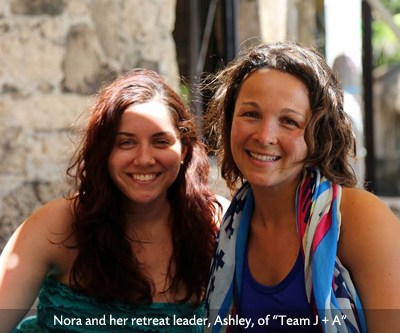 Nora and her retreat leader, Ashley of Team J + A