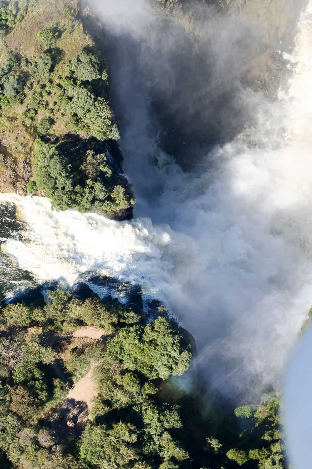 Vic falls from above in the microlight
