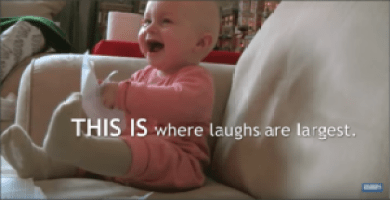 baby laughing at home