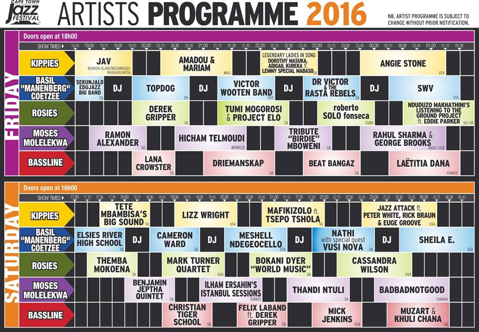 2016 jazz artist lineup for the Cape Town Jazz Festival.