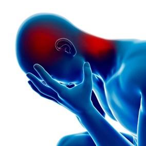 Ein häufiger Fibromyalgie-Triggerpunkt tritt um den Hinterkopf, den Nacken und den Schädel herum auf.