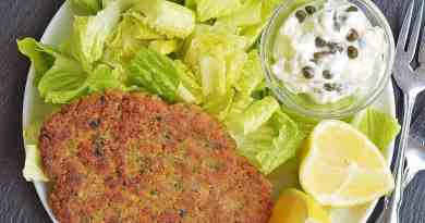 Crispy Chickpea Cutlets with Lemon Caper Sauce