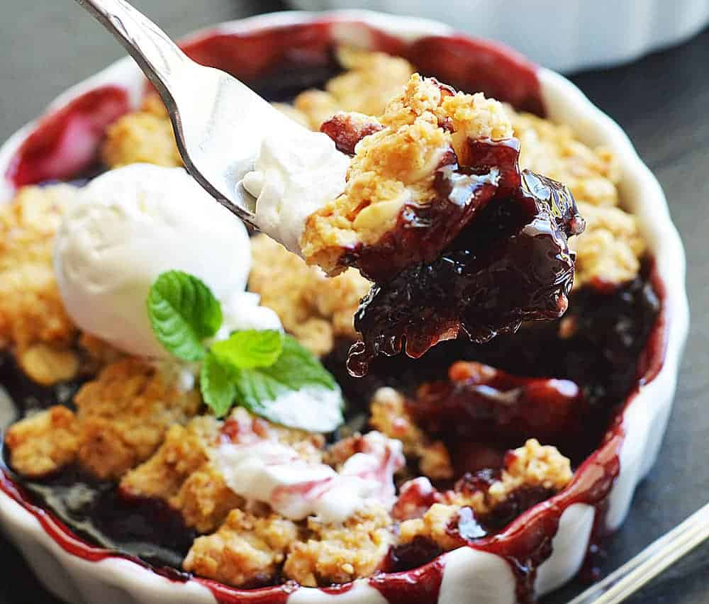 Cherry Cobbler with White Chocolate Almond Biscuit Topping