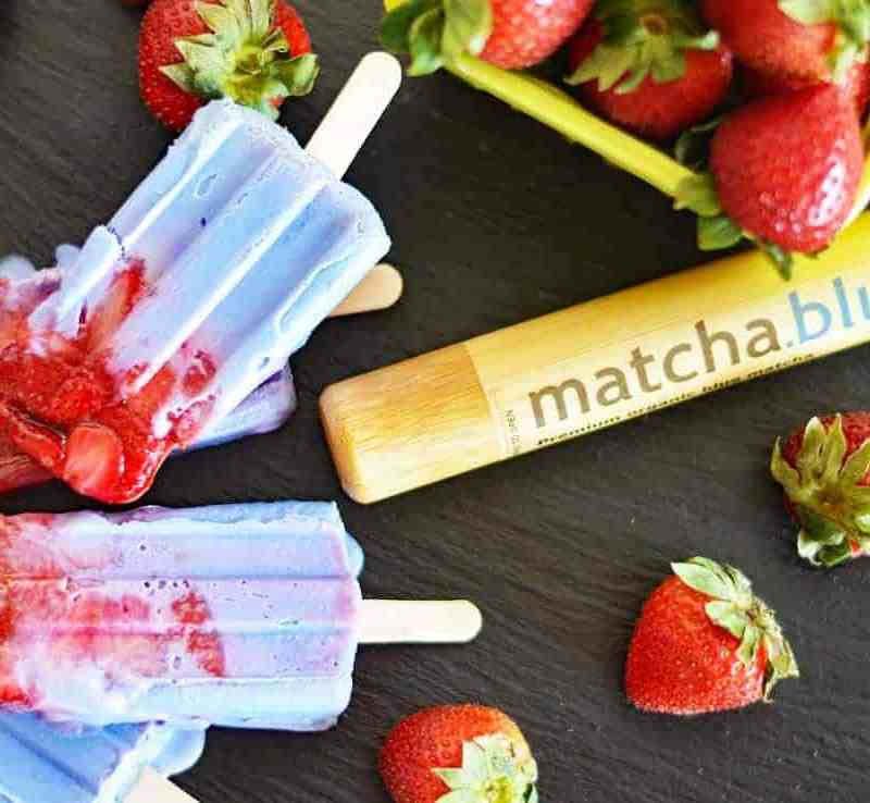 Roasted Strawberry & Blue Matcha Popsicles